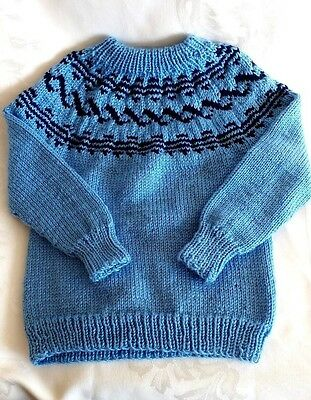 Hand Knitted Childrens Nordic Fair Isle Blue Navy Kids Sweater Size 4T-5T New