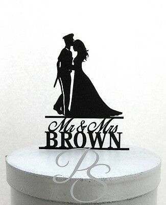 Personalized Wedding Cake Topper - Police Officer and Bride Silhouette