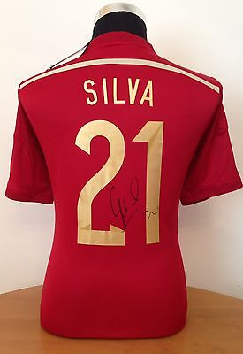 Signed David Silva Spain World Cup Shirt 2014 With Exact Photo Proof & Coa