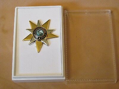 New Saint Francis Nursing Pin (2014) Gold & Silver Tone Star with Blue Stone