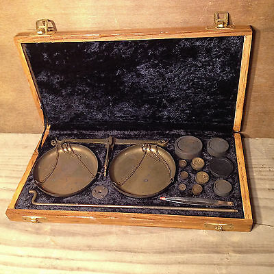 Vintage Brass Apothecary Scale with Wooden Travel Box and Weights