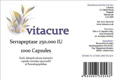 **4 for 3**  1000 DELAYED RELEASE 250000iu SERRAPEPTASE CAPSULES SUPERSTRONG