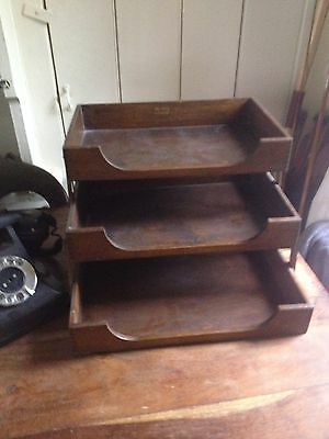 Vintage Wooden Tiered Filing Tray