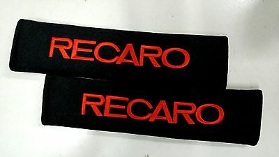 2 x Seat Belt Cover Shoulder Pads Covers Cushion for RECARO Black pad red word