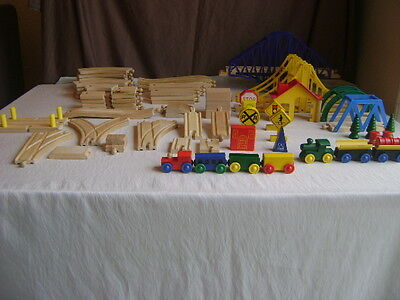 Wooden Trains and Tracks Brio Thomas Compatible Large Lot  Over 65 Pcs