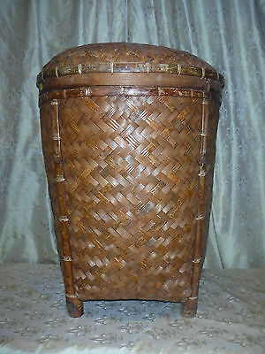 "Antique Asian Bamboo Woven Basket / Hamper with Lid 25"" Tall"