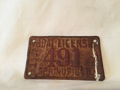 1952 Springfield Illinois Boat License Plate Great Vintage Condition - L@@K #491