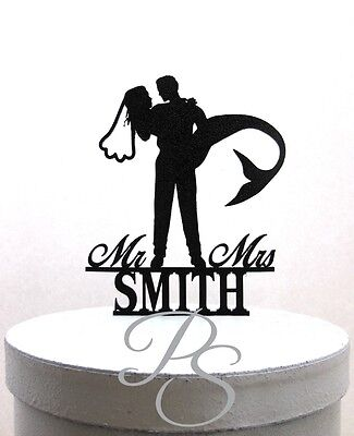 Personalized Wedding Cake Topper - Mermaid Wedding Cake Topper, Mermaid Bride