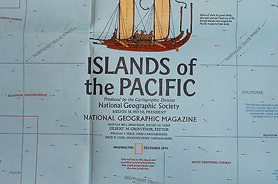 Discoveries / Islands of the Pacific  National Geographic Map / Poster Dec 1974