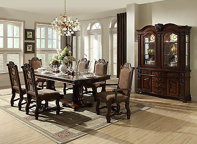 ROWLAND - 7pcs Traditional Cherry Brown Rectangular Dining Room Table Chairs Set