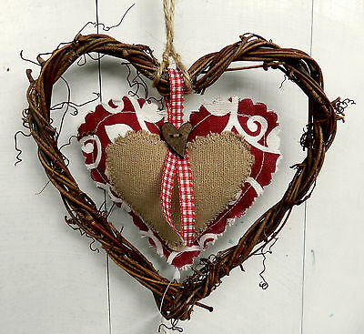 Rustic Shabby Chic Wicker Hanging Heart Decoration. Red. Gift.