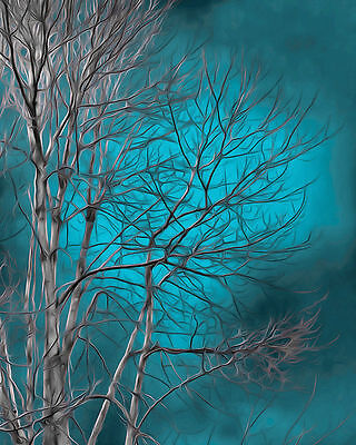 Contermporary Modern Tree Blue Home Wall Art Decor Matted Picture