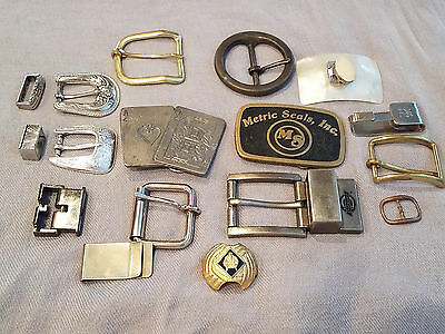 Vtg Belt Buckle Clip 15 Pc.Lot Pewter Buckles of America Brass Silver Gold P MOP