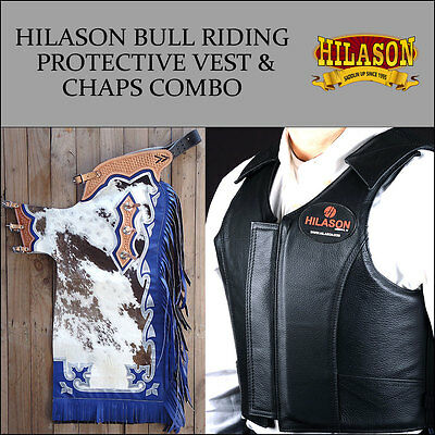 Hilason Western Rodeo Bronc Bull Riding Hairon Leather Chaps Protective Vest