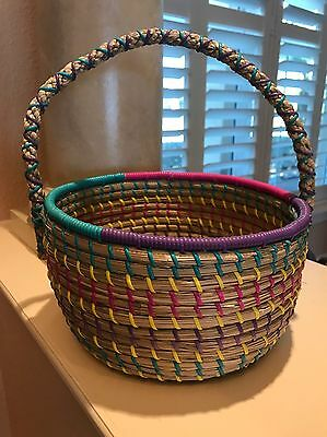 "Large 9 3/4"" Round Woven Grass Multi-Color Trim Basket w/Handle"