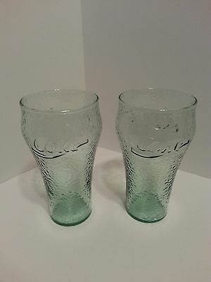 Lot Of 2 Collectible Coca Cola Green Textured Glasses