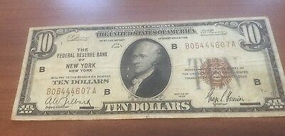 Vintage $10 Ten Dollar Bill 1929 Federal Reserve Bank Of New York Hamilton Note