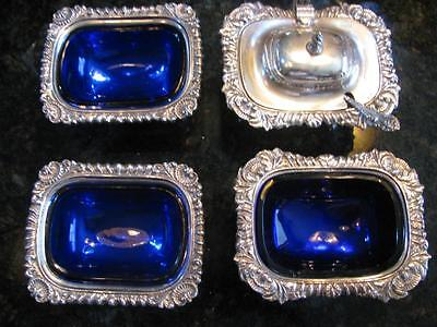 Lot Of 4 Cobalt Blue Glass Silver Plate Salt Cellars; 2 Cellars, 2 Master Salts
