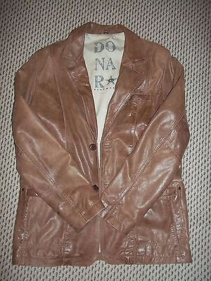 Donar large mens real leather jacket size 42 soft tan light brown cotton-lined