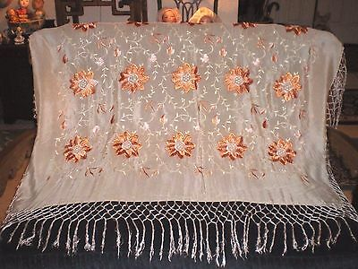 """Antique Chinese Hand Embroidered Off White Silk Piano Scarf Shawl 7"""" Fringe"""