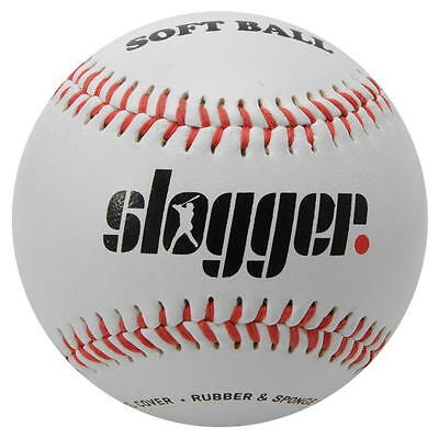 ✔ SLOGGER Baseballball Softscore Softball 9 zoll Baseball League Ball Weiß Rot