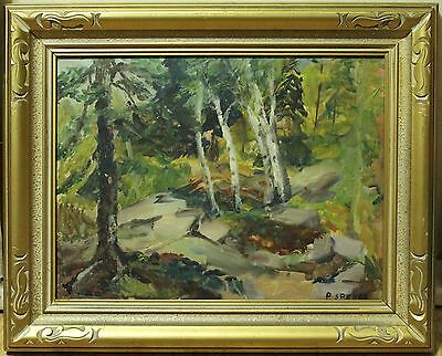 Vintage Oil Painting On Board - Impressionist Forest Landscape - Signed S.Spence