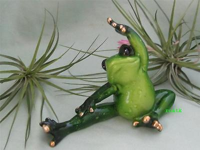 Green Pudgy Yoga Frog  Whimsical Makes You Smile Resin Fairy Garden