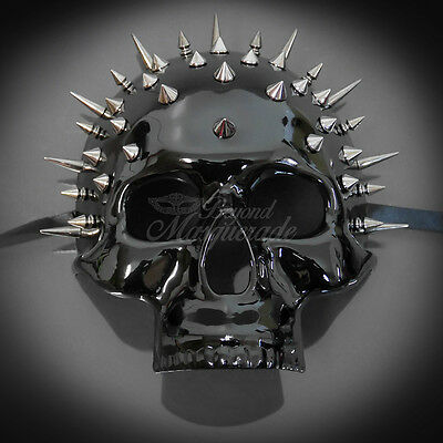 Steampunk Skull Theater Masquerade Mask for Men - Black Spike (M31170)