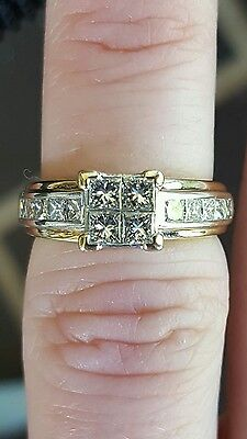 Genuine 9Ct Solid Yellow & White Gold 0.90Ct Diamond Engagement Ring+Value $2820