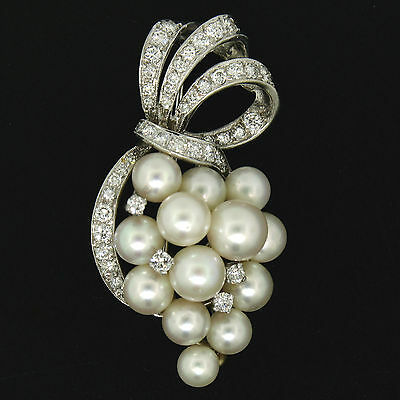 QUALITY Vintage 14K White Gold 1.25ctw Diamond & Pearl Cluster Flower Brooch Pin