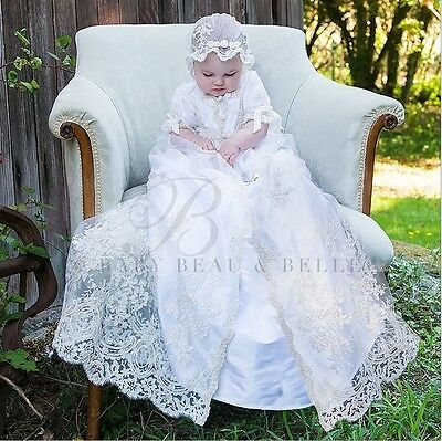 Baby Beau & Belle Kristina Heirloom Silk Lace Christening Baptism Gown 9-12mo