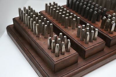 Vintage English Made Set of 100 Steel Letter and Number punches in various sizes