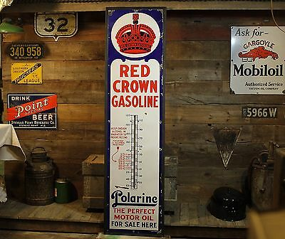 Huge RED CROWN Standard Oil POLARINE 6' Porcelain Gas Station Thermometer Sign