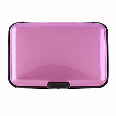 Mini PINK Aluminum Wallet RFID Blocking Pocket Holder Security Credit Card Case