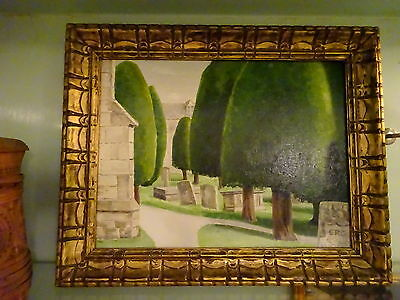 Unusual Oil Painting on Board Churchyard with Cypresses & Tombstones  Signed