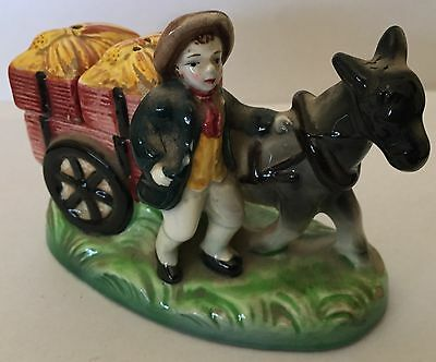 Ceramic Salt & Pepper Shakers on Donkey & Cart