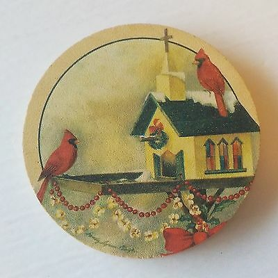 THIRSTYSTONE - 4 Coaster Set - Red Bird Cardinal Image - SANDSTONE Cork Backs