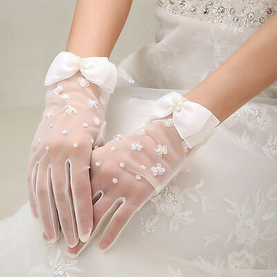White Bridal Bridal Wedding Glove Wrist Length With Sequin Crystal Beaded Gloves