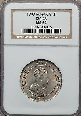 1909 Jamaica 1 Penny, NGC MS 64