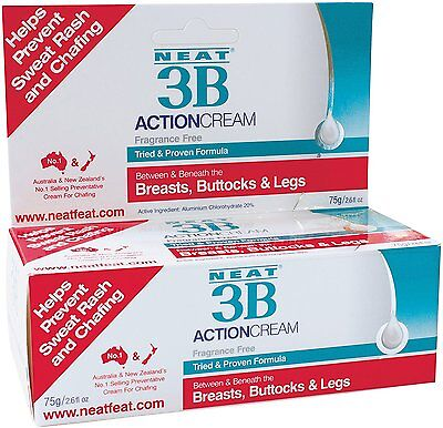 NEAT 3B ACTION CREAM 75g FRAGRANCE FREE PREVENT SWEAT RASH AND CHAFFING