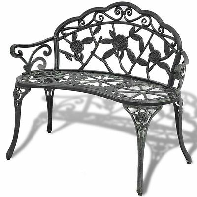 Patio Garden Bench Chair Style Porch Cast Aluminum Outdoor Rose
