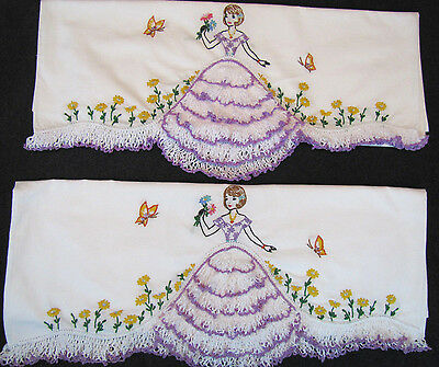Pretty Pair of Vintage Southern Belle Pillowcases Flowers & Crocheted Dress...