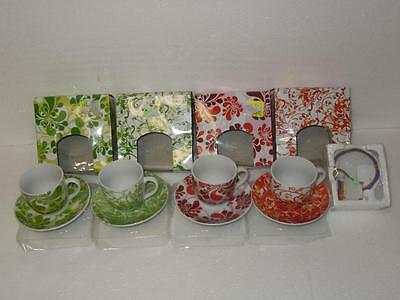 Ceramic Espresso Coffee Cup Lot 4 Green & Red Colorful Unique Pattern Brand New