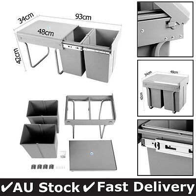 Duel Side Pull Out Rubbish Waste Basket Kitchen Drawers Bin 2x20L 2 compartments
