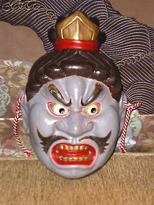 Very Cool Old Japanese Pottery Mask Signed Hand Painted