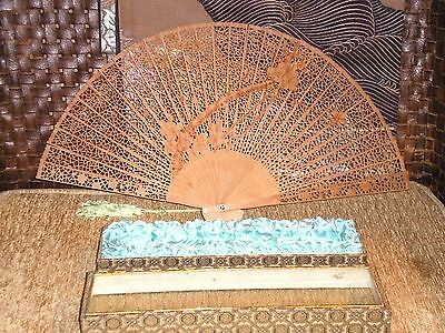 Beautiful Old Chinese Carved Cherry Blossom Wood Fan w/Original Lined Casket Box