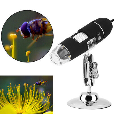 Portable 1000X 8 LED USB Digital Microscope Endoscope Camera Magnifier + Stand