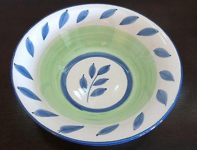 "Tabletops Unlimited Oval Autumn Blue 9"" Round Veg.Bowl Green,Blue Leaves & Trim"