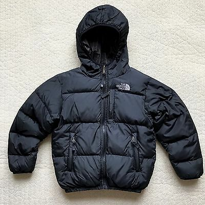 North Face Boys S Small 550 Down Reversible Hooded Jacket Puffer Coat Black Gray