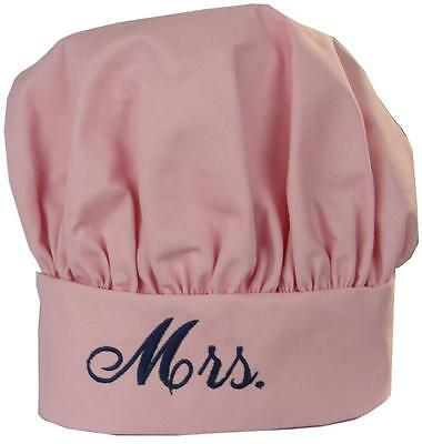 Mrs. Light Pink Chef Hat Wedding Party Marriage Gift Navy Blue New Wife Monogram